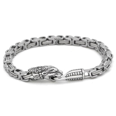 Viking Bracelet Wolf Fenrir Heads in Stainless Steel - bracelets viking