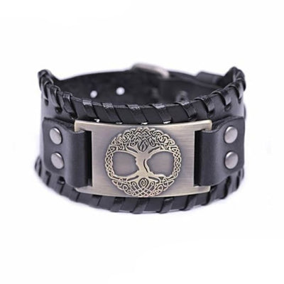 VIKING CUFF TREE OF LIFE - Antique Bronze Black - viking leather cuff