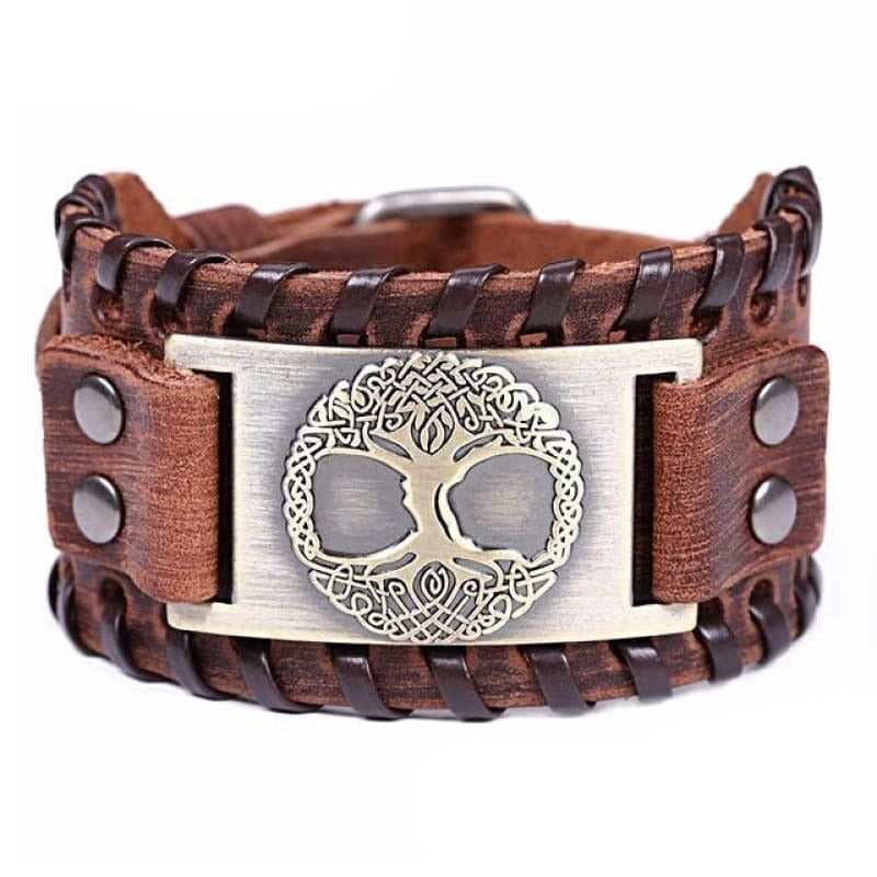 VIKING CUFF TREE OF LIFE - Antique Bronze Brown - viking leather cuff
