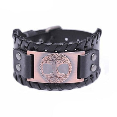VIKING CUFF TREE OF LIFE - Antique Copper Black - viking leather cuff