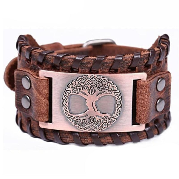 VIKING CUFF TREE OF LIFE - Antique Copper Brown - viking leather cuff
