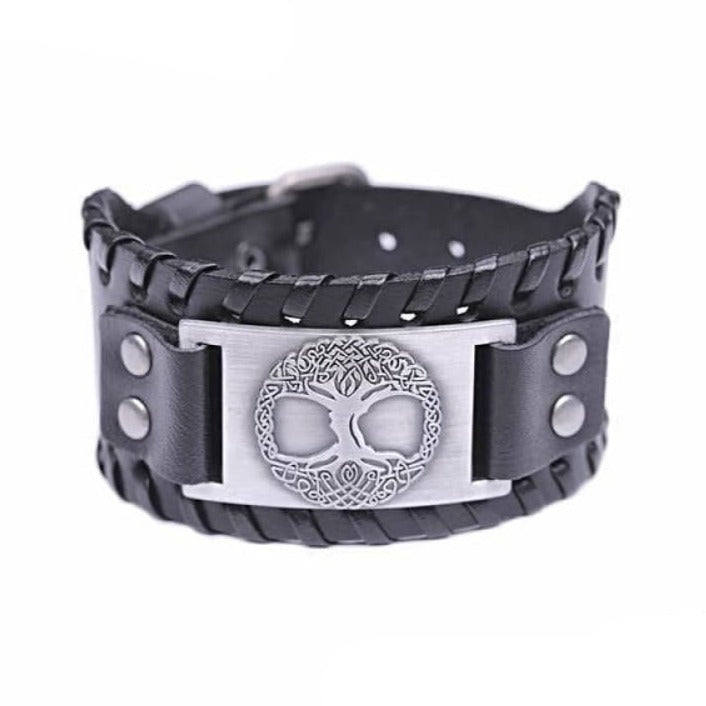 VIKING CUFF TREE OF LIFE - Antique Silver Black - viking leather cuff