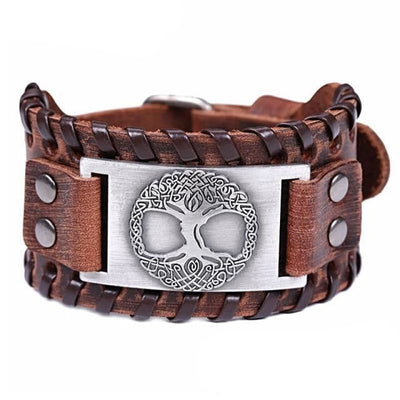 VIKING CUFF TREE OF LIFE - Antique Silver Brow - viking leather cuff