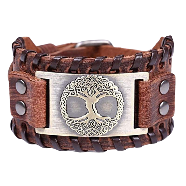 VIKING CUFF TREE OF LIFE - viking leather cuff