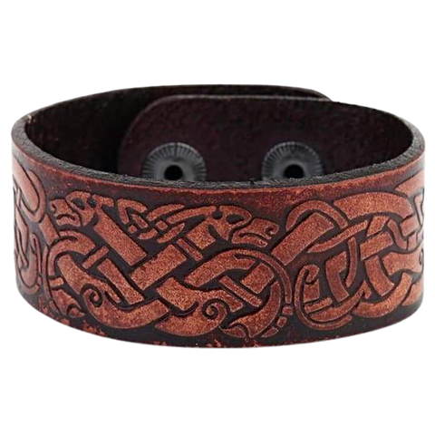 VIKING DRAGON KNOT BRACELET - viking leather cuff