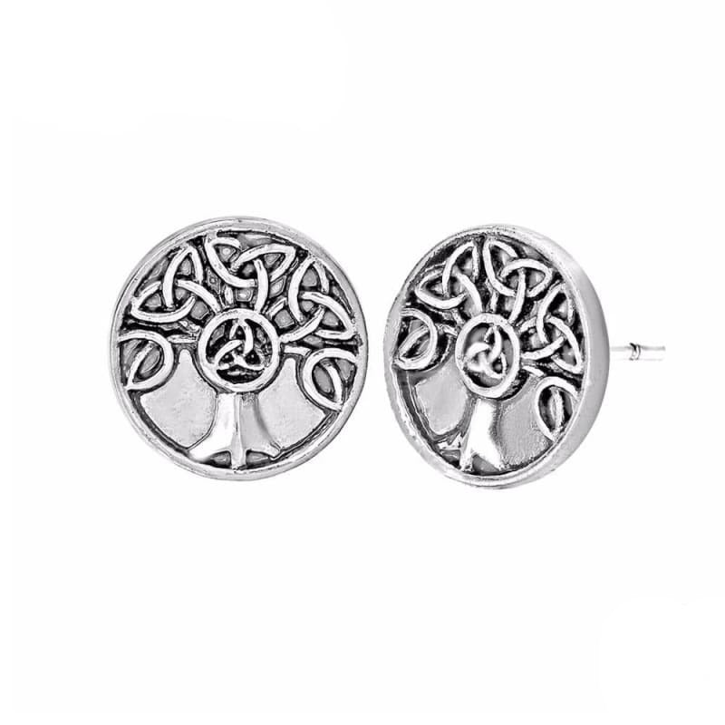 VIKING EARRINGS - TREE OF LIFE - Antique Silver Plated - 200000171