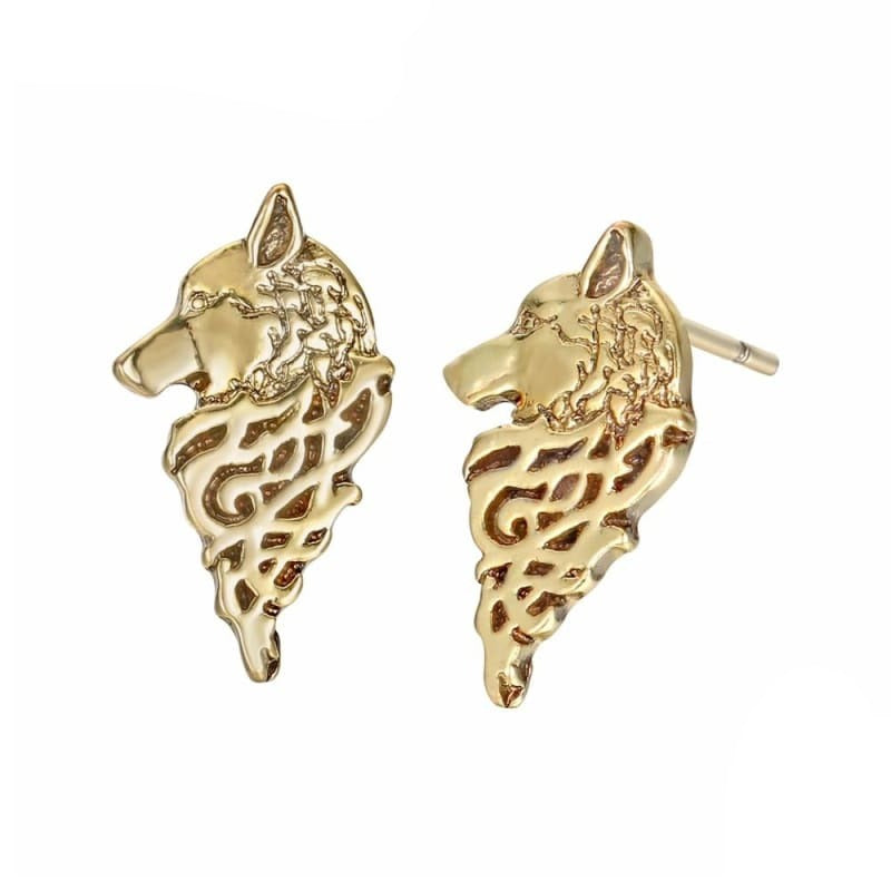 VIKING EARRINGS - WOLF FENRIR - Gold Color - viking earrings