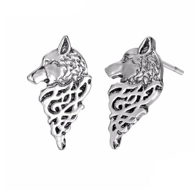 VIKING EARRINGS - WOLF FENRIR - Silver Plated - viking earrings