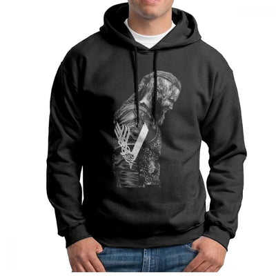 VIKING HOODIE - HIGH QUALITY KING RAGNAR LOTHBROK - Black / S - 200000344