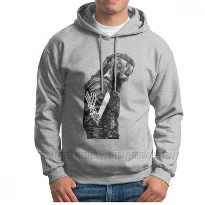 VIKING HOODIE - HIGH QUALITY KING RAGNAR LOTHBROK - Gray / S - 200000344