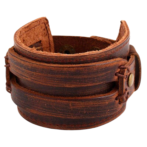 VIKING LARGE BRACELET BERSEKER - ULFHEDNAR - viking leather cuff