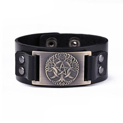 VIKING LEATHER BRACELET YGGDRASIL - Black - Bronze - viking leather cuff