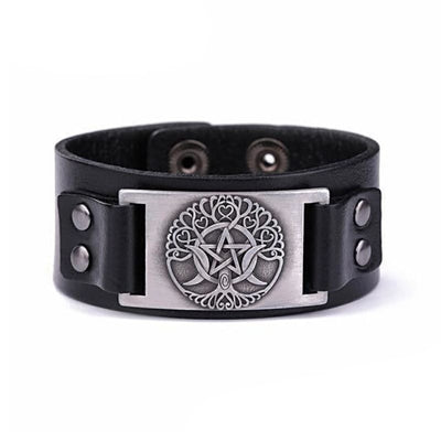 VIKING LEATHER BRACELET YGGDRASIL - Black - Silver - viking leather cuff