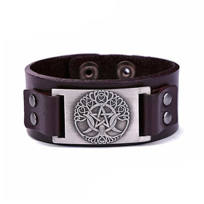 VIKING LEATHER BRACELET YGGDRASIL - Brow - Silver - viking leather cuff
