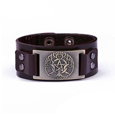 VIKING LEATHER BRACELET YGGDRASIL - Brown - Bronze - viking leather cuff