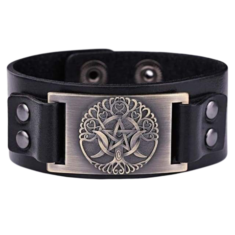 VIKING LEATHER BRACELET YGGDRASIL - viking leather cuff