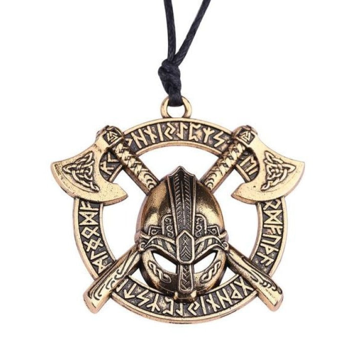 VIKING NECKLACE - DOUBLE AXE & HELMET - antique silver / Worldwide - viking necklace