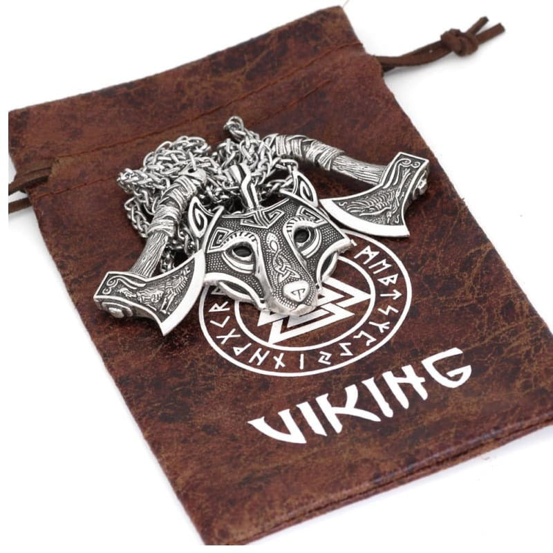 VIKING NECKLACE - FENRIR SHIELD - Silver - viking necklace