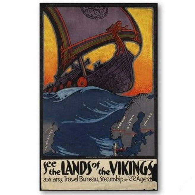 VIKING POSTER - NORDIC COUNTRIES OLD VINTAGE - 13x18 cm No Frame / PB578 - 1704