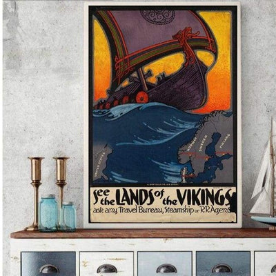 VIKING POSTER - NORDIC COUNTRIES OLD VINTAGE - 1704