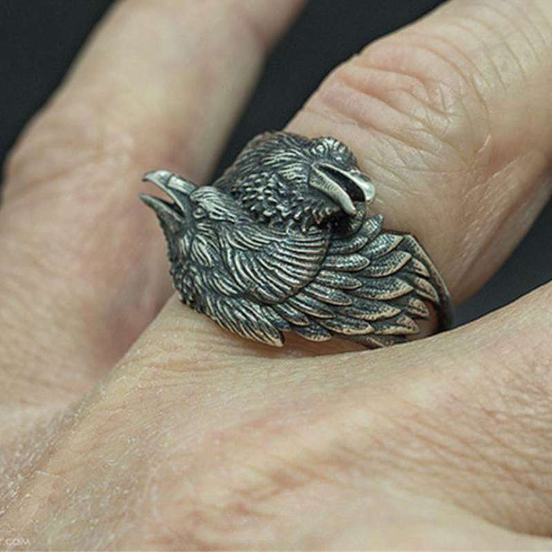 viking raven ring finger