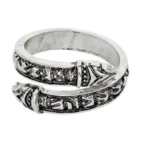 Viking Ring - Futhark - Antique Silver - viking ring