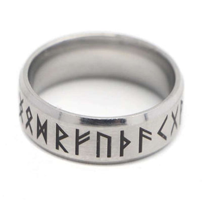 viking runic ring steel