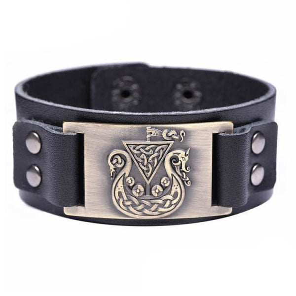 VIKING SHIP DRAKKAR BRACELET - Black-Bronze / Worldwide - viking leather cuff