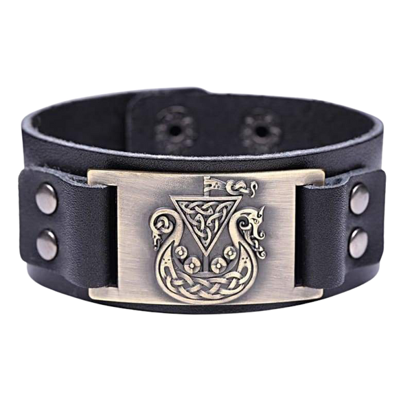 VIKING SHIP DRAKKAR BRACELET - viking leather cuff