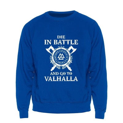 VIKING SWEATSHIRT- DIE IN BATTLE AND GO TO VALHALLA HIMINBJORG - Blue / S - 200000344