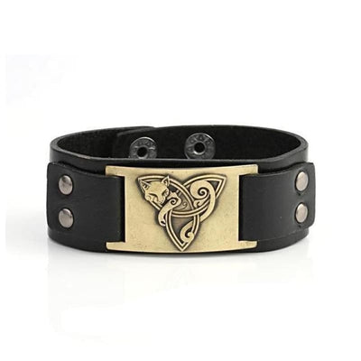 VIKING TRIQUETRA FOX BRACELET - Black - Bronze - viking leather cuff