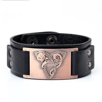 VIKING TRIQUETRA FOX BRACELET - Black - Copper - viking leather cuff