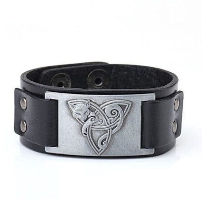 VIKING TRIQUETRA FOX BRACELET - Black - Silver - viking leather cuff
