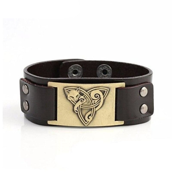 VIKING TRIQUETRA FOX BRACELET - Brown - Bronze - viking leather cuff