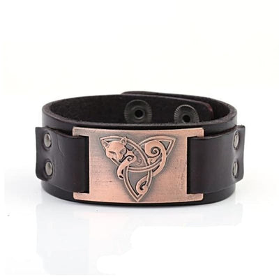 VIKING TRIQUETRA FOX BRACELET - Brown - Cooper - viking leather cuff