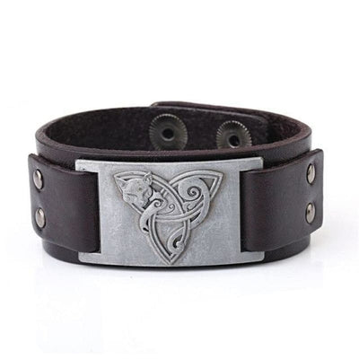 VIKING TRIQUETRA FOX BRACELET - Brown - Silver - viking leather cuff