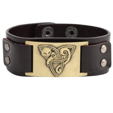 VIKING TRIQUETRA FOX BRACELET - viking leather cuff