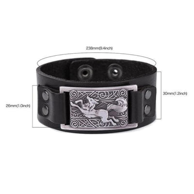 VIKING WOLF BRACELET - Black Antique Silver - viking leather cuff