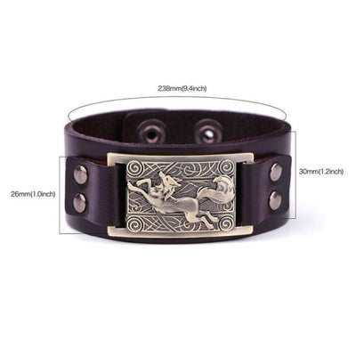 VIKING WOLF BRACELET - Brown Antique Brown - viking leather cuff