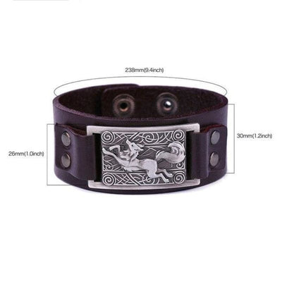 VIKING WOLF BRACELET - Brown Antique Silver - viking leather cuff