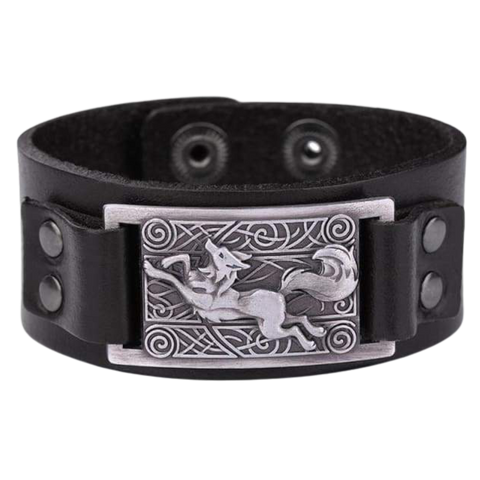 VIKING WOLF BRACELET - viking leather cuff