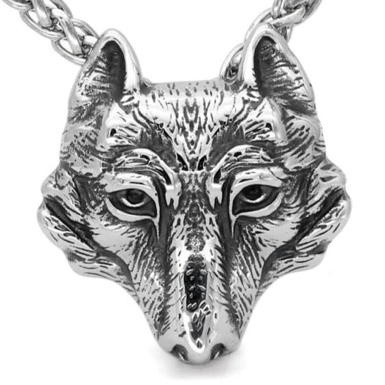 VIKING WOLF NECKLACE - wolf head necklace