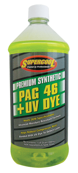P46-32D (6 Pack) R-134a PAG 46 Compressor Oil + UV Dye 32oz. (1L) - Supercool Professional AC Products