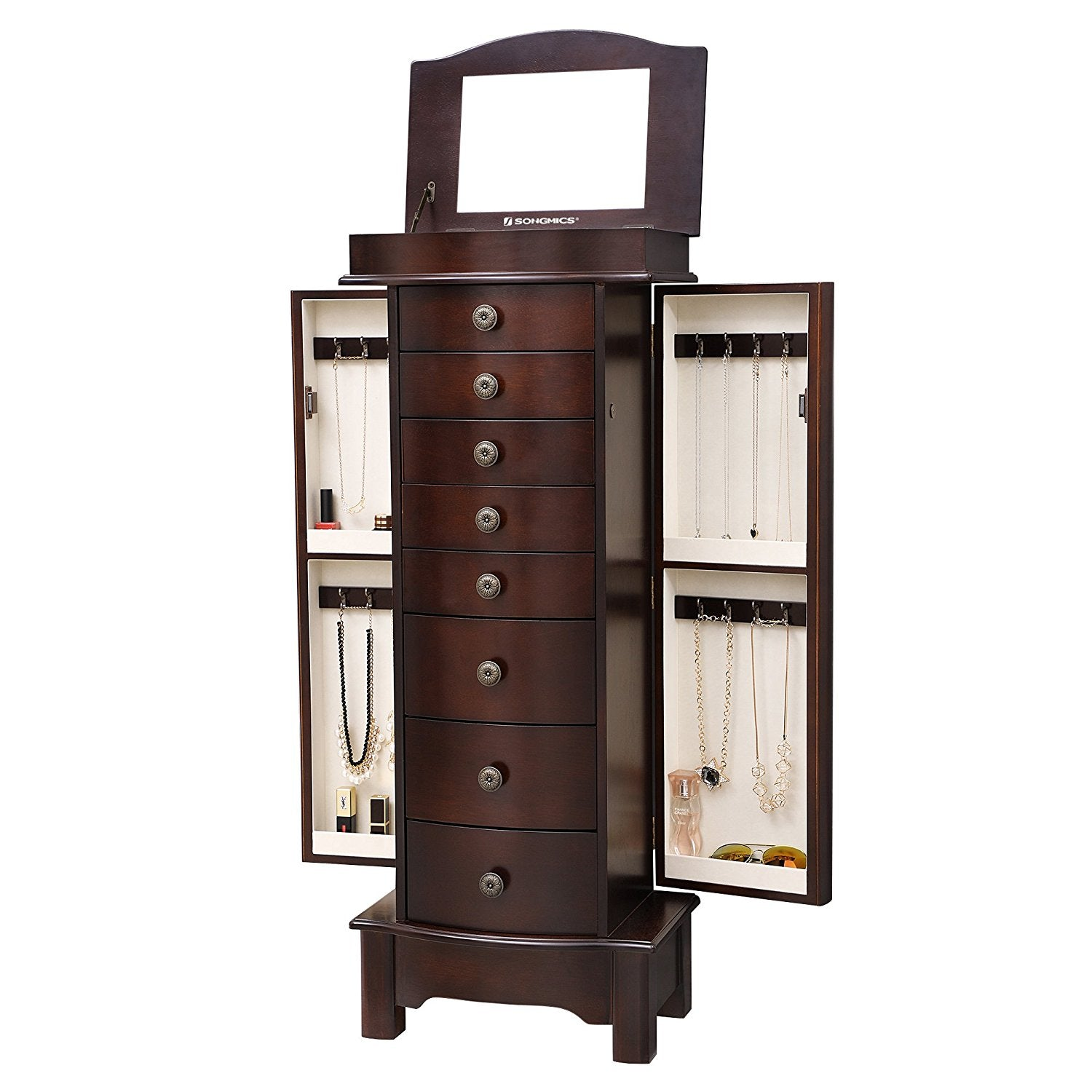 Songmics Jewelry Cabinet Armoire Cambered Front Storage Chest Stand
