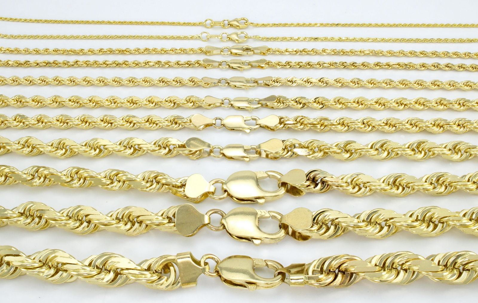 bcca3538bb0c ... REAL 10K Yellow Gold 2MM to 7MM Diamond Cut Rope Chain Pendant Necklace  16