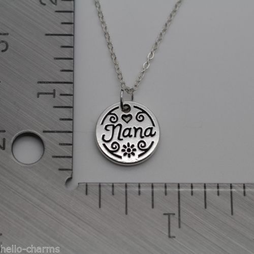 b933152d7 ... Nana Charm Necklace Jewelry Grandma Grandmother Silver Chain Mothers  Day Gift