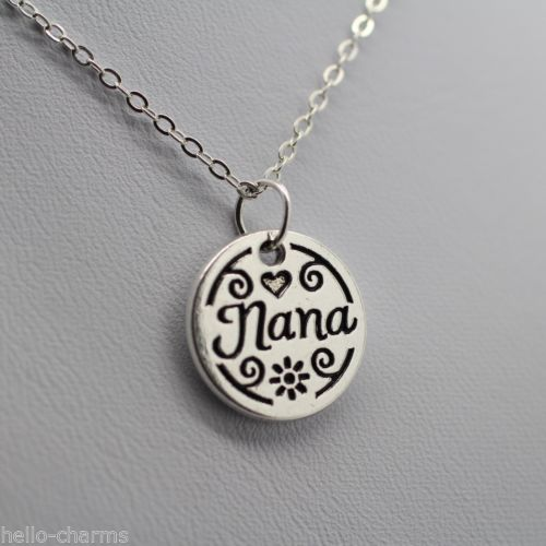 77334b3ee ... Nana Charm Necklace Jewelry Grandma Grandmother Silver Chain Mothers  Day Gift ...