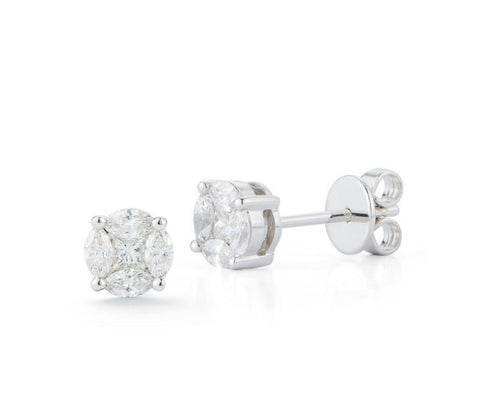 Invisible solitair stud earrings