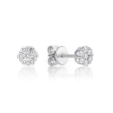 Small flower diamond earrings