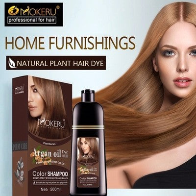 Argan oil color shampoo to paint hair and dye gray hair